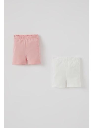 DeFacto Kız Bebek 2'li Basic Diz Üstü Tayt Beyaz
